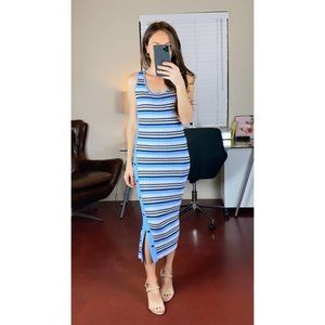 NEW 525 AMERICA Striped Button Slit Midi Dress